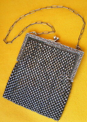 1930s ART DECO FRENCH SILVER STERLING AND RHINESTONES RETICULE HANDBAG PURSE