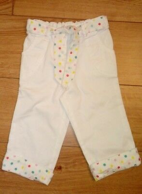New NEXT girls white trousers with coloured polka dot belt age 4/5 Years