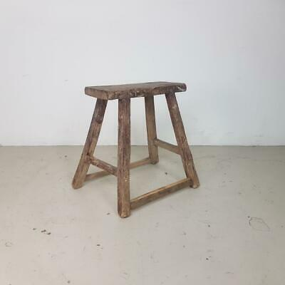 VINTAGE RUSTIC ANTIQUE WOODEN STOOL MILKING EXTRA LARGE No L234