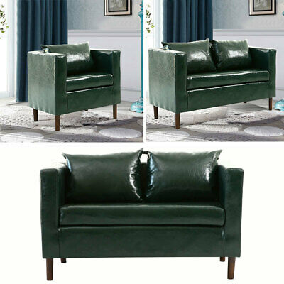 Emerald Green Faux Leather Sofa 2 Seater+Armchair Sofa Settee Couch Soft Padded