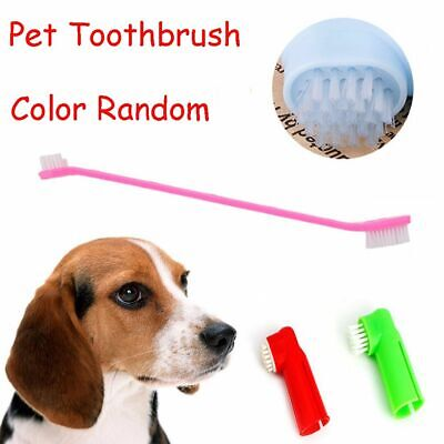 Cat Dog Pet Toothbrush Set Drouble Head Oral Rubber Massager Teeth Cleaner