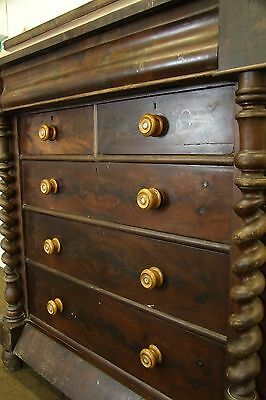 Huge Victorian Mahogany Barley Twist Column Antique Scotch Chest Of Drawers