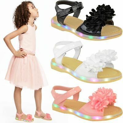Girls Kids Childrens LED Light Up Flashing Sandals Party Shoes Soft Sole New