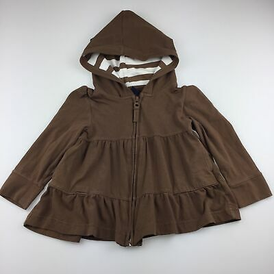 Girls size 2, Gap, brown zip up hooded sweater, GUC