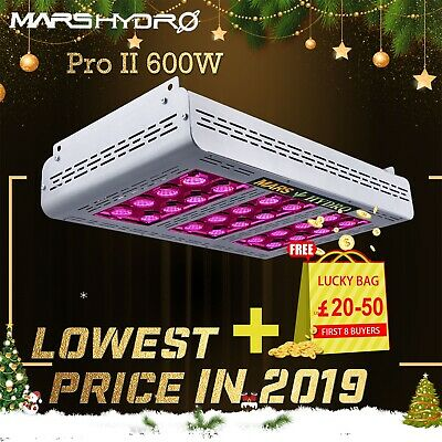 Mars Hydro Pro II 600W LED Grow Light Full Spectrum for Indoor Veg Bloom Plants