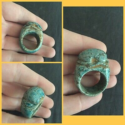Rare ancient Egyptian blue faience scarab beetle amulet ring , 300 bc