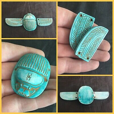 Rare Large Ancient Egyptian Winged Scarab Beetle. 664/332BC