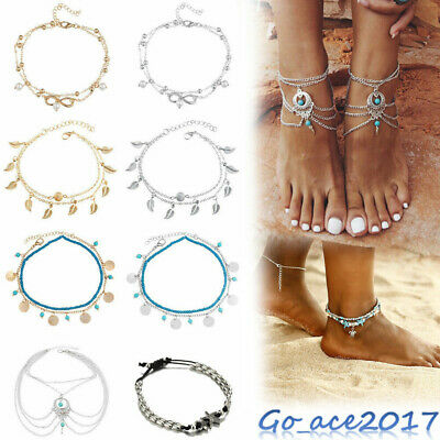 New Women Ankle Bracelet 925 Sterling Silver Anklet Foot Chain Boho Beach Beads