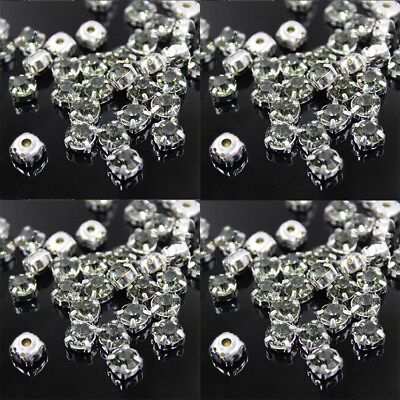 Wholesale 100X Diamante Rhinestone Crystal Clear Silver Setting Grade Glass UK