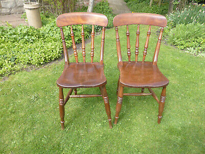 Pair Victorian Kitchen/Dining Chair. Turned Spindle Back. Solid + Sturdy