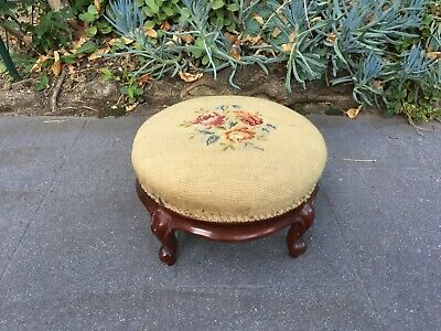 Antique Victorian Mahogany Foot Stool with Tapesty Seat!