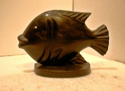 AFRICAN ART  CONGO     POISSON SCULPTURE BOIS WENGE    ARTISANAT  piece unique