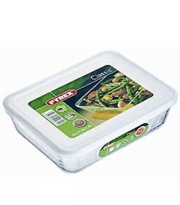 1.5L Rectangular Pyrex Dish With Plastic Lid Oven And Microwave Safe Brand New