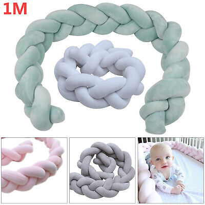 Infant Thick Plush Crib Bumper Bedding Bed Cot Braid Pillow Pad Protector 1M UK