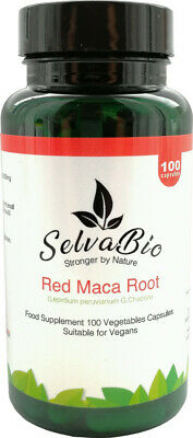 Red Maca Root Capsules Organic & Gelatinized, 100% Vegan Certified