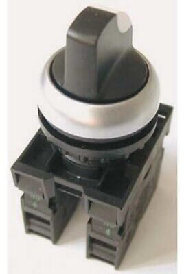 Moeller SELECTOR SWITCH 2xN/O 3-Positions Knob Maintained, Black/Chrome