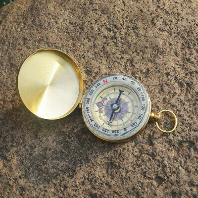 US Rotatable Dial Vintage Brass Noctilucent Pocket Compass Hiking Camping Watch