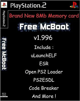 Free McBoot FMCB 1.966 Sony PlayStation 2 PS2 8 Mo Memory Card opl mc boot PS 2