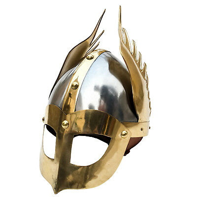 Unidecor Medievial Viking Knight Winged Norman Helm Steel Armor Helmet W/ Liner
