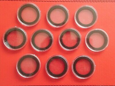 10 x Coin capsules 38mm with black foam inserts for £2 two pound coins