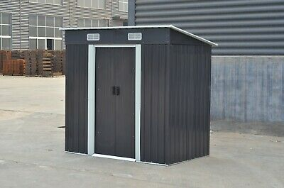 Metal Garden Shed Outdoor Storage House 4x6'  Tool Sheds with Base