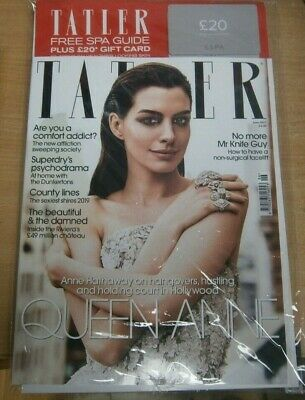 Tatler magazine UK Jun '19 Anne Hathaway. Non-Surgical facelift +£20 ESPA card