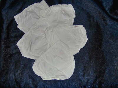 5 PAIRS WHITE COTTON BABY PANTS by MOTHERCARE  - SIZES NB - 9/12 MONTHS