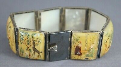 Pretty Old Persian Middle Eastern Islamic Qajar Painted Mother Of Pearl Bracelet
