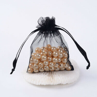 100 x Black Organza Pull tie Gift/Favour Pouches 7x9cm
