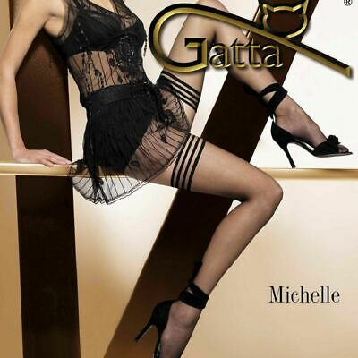 Quality Tri Band Sexy Sheer Stay Ups Hold Ups Up Stockings Michelle 02 By Gatta