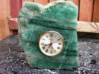 Vintage Jade Electric Clock with Swiss Movement