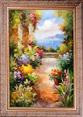 Framed Original Oil On Canvas, A.Rossi Signed, Impressionist Italian Terrace