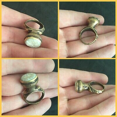 Rare post Medieval Bronze gilt stone Seal Ring 18th to 19th c