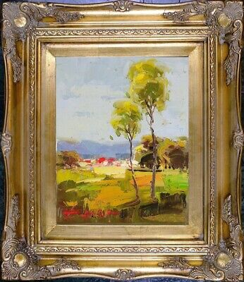 Framed Painting, Spring Country Landscape Oil On Canvas Signed Impressionist