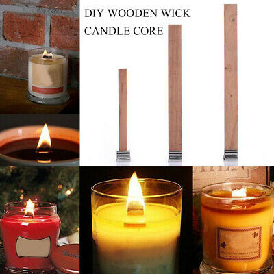20PCS DIY Core Parffin Wax Craft Candles Wick Wooden Sustainer Tab Making Supply