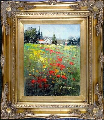 Framed Oil On Canvas, Genuine Painting, Spring Poppy Field Landscape, Signed