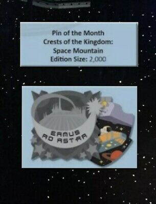 Disney Pin of the Month Crests of the Kingdom Space Mountain LE 2000