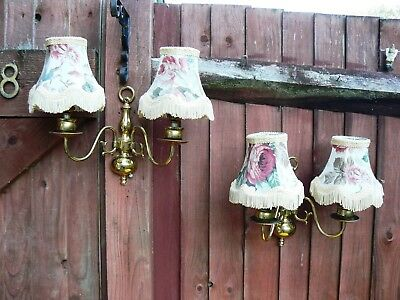 Vintage Solid Brass Wall Lights with Shades Pair