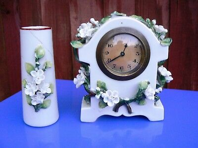 Antique Late Victorian Ceramic Table Clock Set