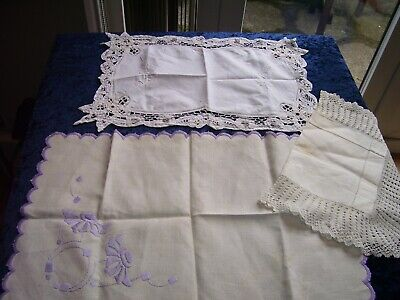 3 Vintage Table Mats Doilies Antique Crochet Lace Edged, Embroidered, Whitework