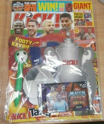 Kick! Football magazine #167 2019 + 5 Match Attax Extra cards & more