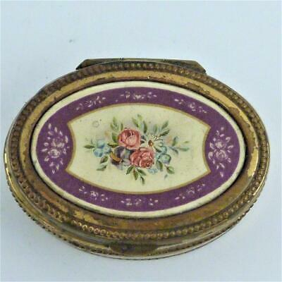 Antique French Gilt Metal And Enamel Oval Patch Box, 19Th Century