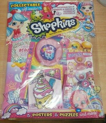 Shopkins magazine comic Issue #54 + Shopping Set Keyring Stampers & Badge & more