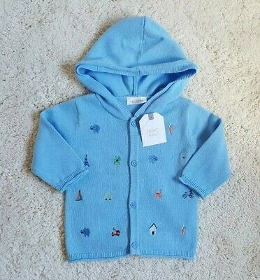 BNWT Next Baby Boys Blue Embroidered Hooded Cardigan Jacket - Age 0-3 Months