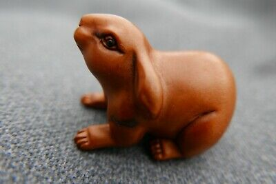 Hand Carved  & signed netsuke boxwood long eared Hare collectable netsky