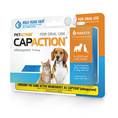 CapAction Fast Acting Flea Treatment For Small Dogs And Cats, 6 Tablets