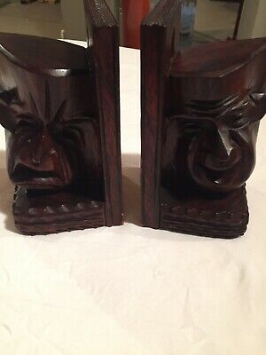 RARE Antique COMEDY/TRAGEDY Carved Wooden Book Ends Masks Faces Tiki Head
