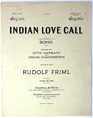 Indian Love Call, Harbach, Hammerstein, Song, Sheet Music - UK Shilling