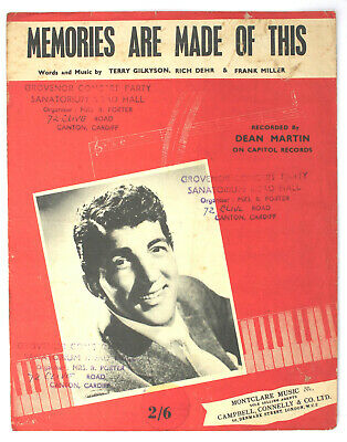 Memories Are Made Of This, Dean Martin, Song, Sheet Music - UK Shilling