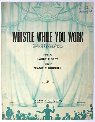 Whistle While You Work, Song, Sheet Music - UK Shilling